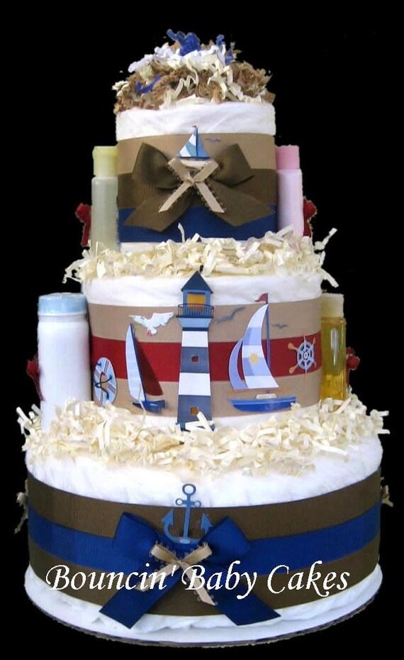 Nautical Sailboat Diaper Cake Matches Cape Cod Nursery