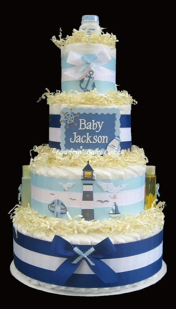 tier personalized nautical blue diaper cake baby shower centerpiece