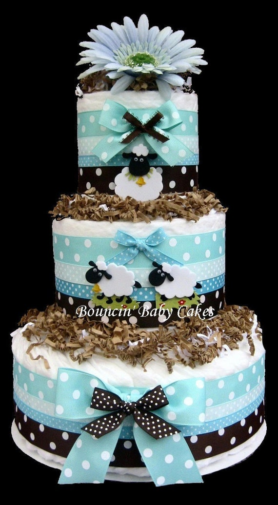 tiffany blue and brown sheep baby shower diaper cake centerpiece