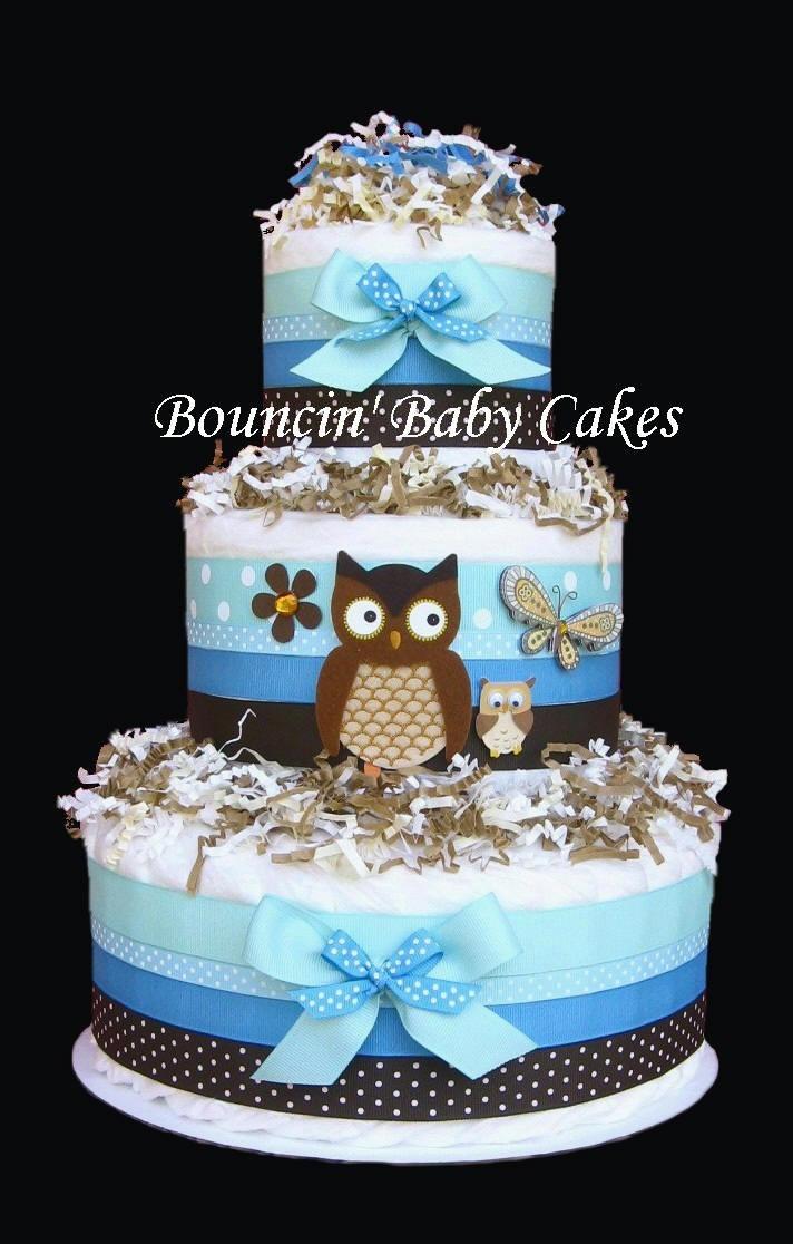 look who u0026 39 s having a baby owl diaper cake centerpiece