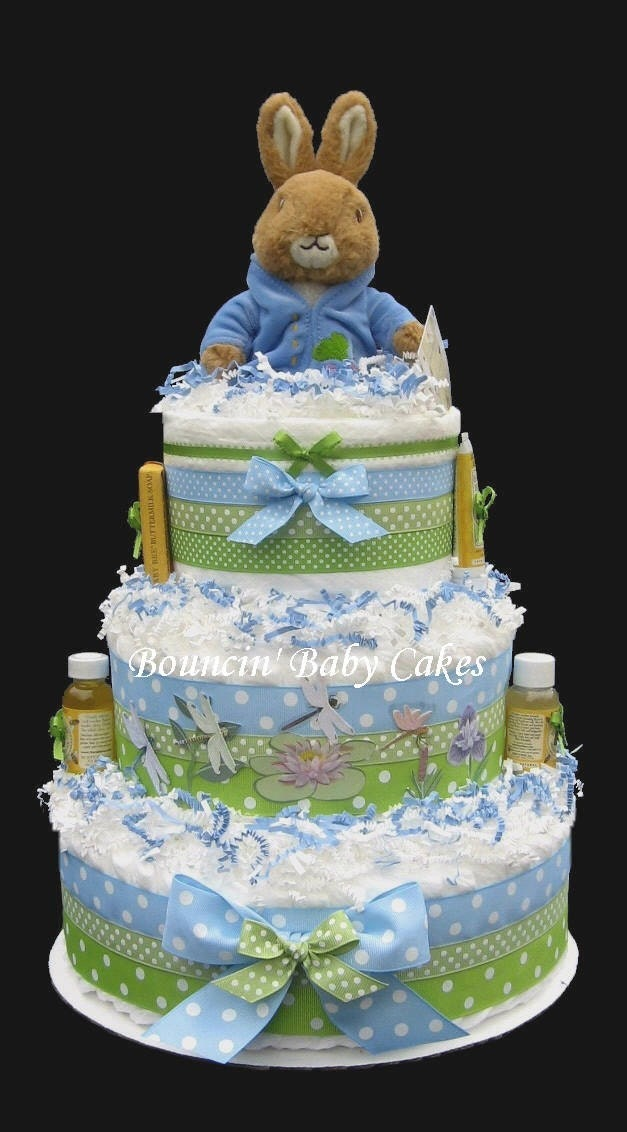to peter rabbit baby shower diaper cake centerpiece gift on etsy