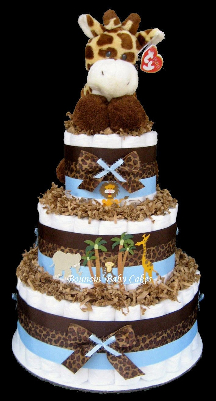 baby giraffe safari diaper cake baby shower centerpiece