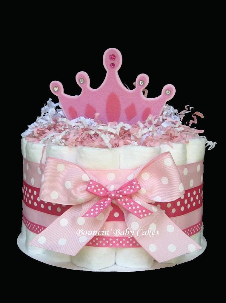 1 Tier Little Princess Baby Shower Diaper Cake Centerpiece