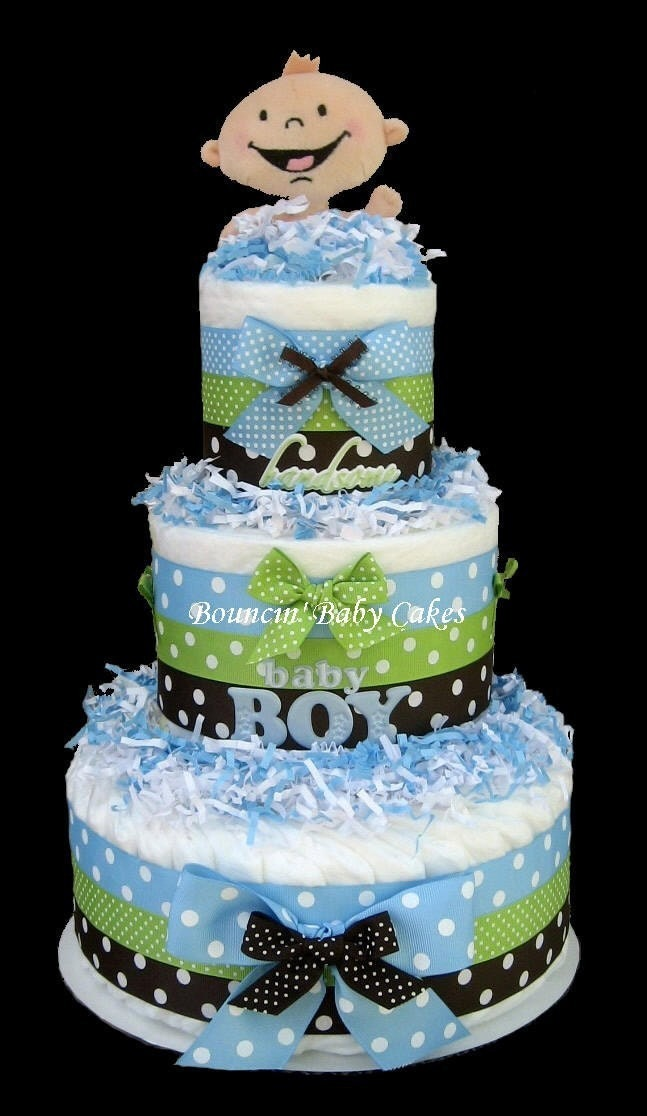 Diaper Cake Ideas For Baby Boy : Tickled Blue Handsome Baby Boy Baby Shower Diaper Cake/