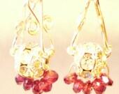 Sterling silver earrings with garnet charms glittering rose pink gemstone earrings 925 silver for her dangle drop hook earrings