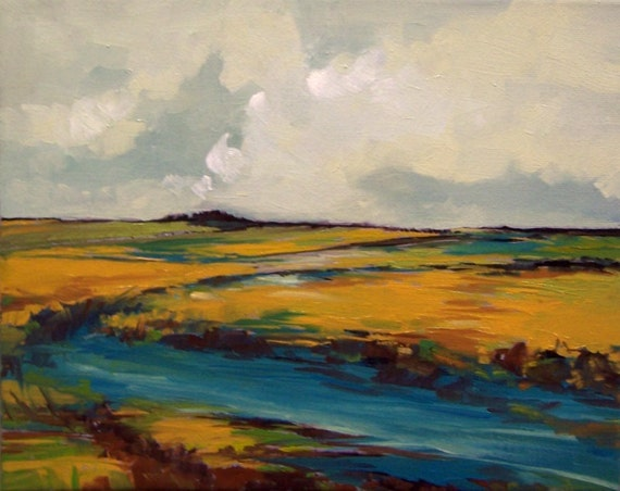 STREAM, oil, original painting, 100% charity donation, 8x10 stretched canvas, landscape, sky, clouds, river, field