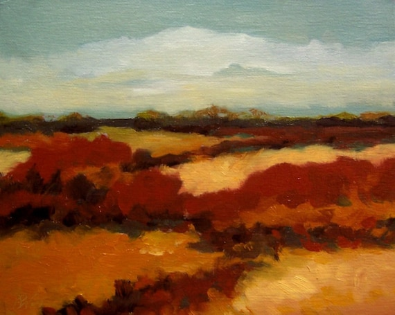 RED BUSH, oil,  original painting, 8x10 on canvas panel,100% charity donation, wall decor, clouds, field