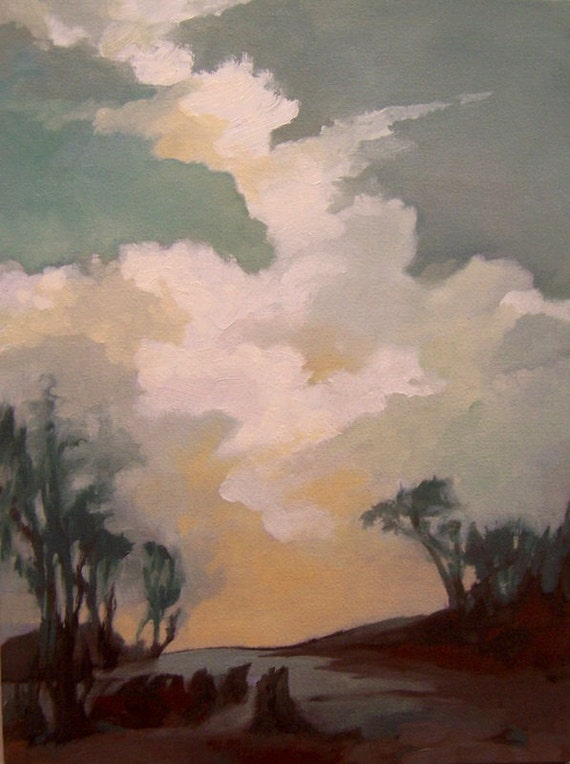 PROMISE, oil, original painting 100% charity donation, 9X12 canvas  panel, landscape, clouds, sky, path, trees