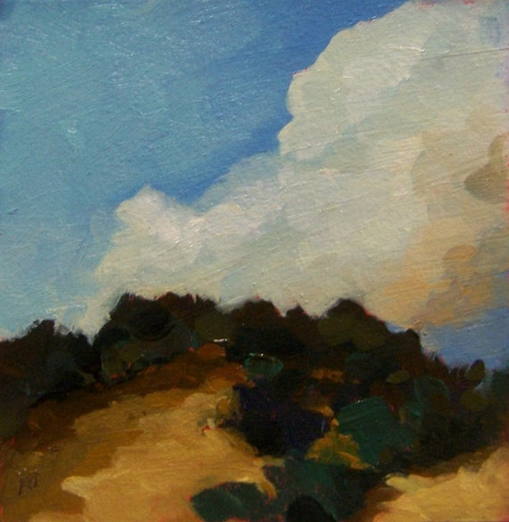 SMOKE, Original oil painting, landscape, 100% charity donation, original painting, 5x5, clouds, atmosphere, sky, hill, shrubs