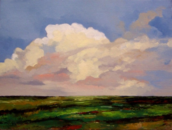 FIELD and SKY, original oil painting landscape, 100% charity donation, 9X12 canvas panel, clouds, sky, farmland