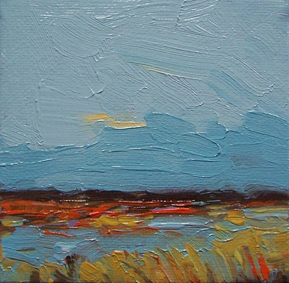 Teal Sky, Original oil painting, 100% charity donation, original painting, 4x4, canvas, landscape, sky, river, teal