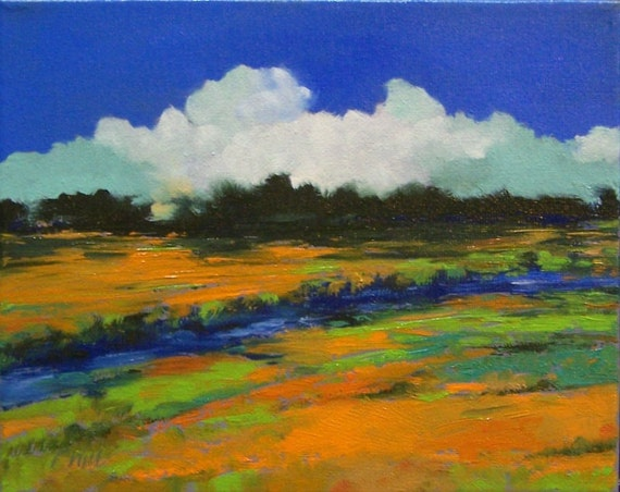 STREAM, oil painting, original landscape painting, 8x10 stretched canvas, 100% charity donation, field, clouds, blue