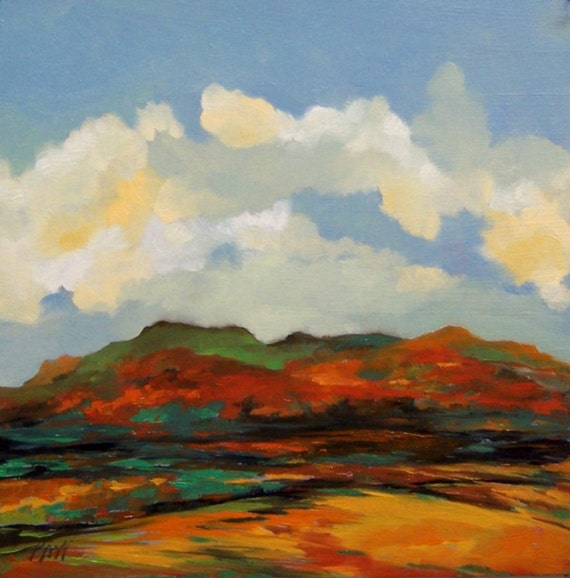 AUTUMN HILLS, oil painting landscape original 100% charity donation, oil landscape, 10x10, art board, clouds, sky, hills, mountains