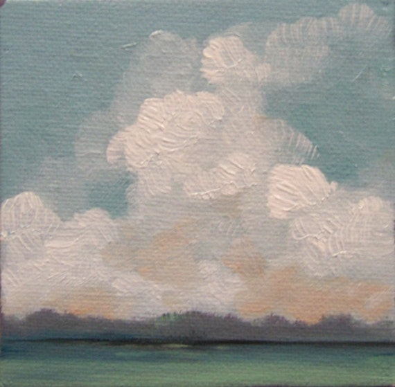 HAPPY DAY, oil painting, 100% charity donation, original painting, 4x4, canvas, landscape, clouds, sky