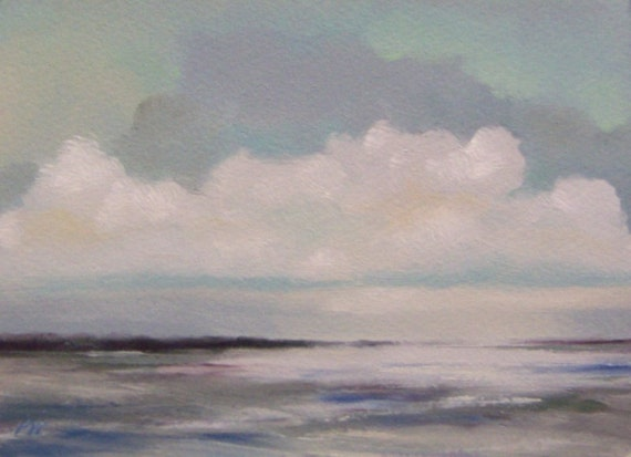 CHILL, original painting, 100% charity donation, oil painting, landscape, 5x7, clouds, sky