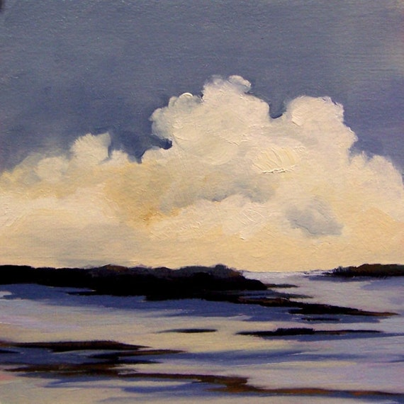 COOLER, original painting, 100% charity donation, oil painting, landscape, 5x5, art board, clouds, sky, water, river, lake
