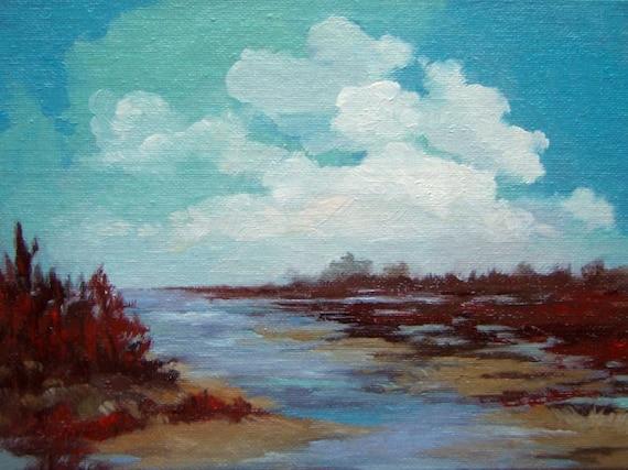 Low River, original oil painting, 100% charity donation, original painting, 6x8 on canvas panel, landscape, clouds, river, canvas, oil