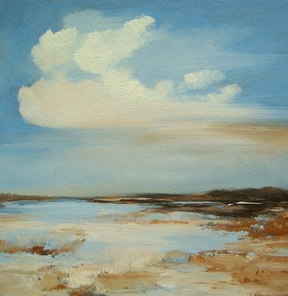 SANDY SHOALS, Original painting oil painting landscape 100% charity donation 6x6, museum art board, clouds, sky, beach, sand, ocean