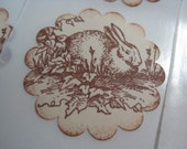 Handmade Sticker Seal - Vintage Bunny