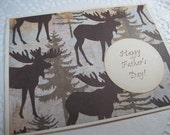 Happy Fathers Day Greeting Card - Moose - Handmade