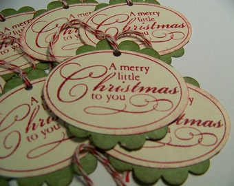 Handmade Vintage Style Gift Tags - Merry Little Christmas