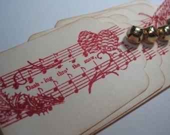 Handmade Vintage Style Christmas Gift Tags - Dashing through the snow w bells