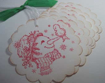 Handmade Christmas Gift Tags - Snowman with feathered friend