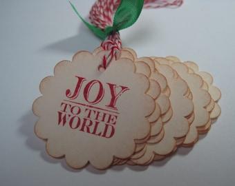 Handmade Gift Tags - Joy to the World - Christmas Vintage Inspired