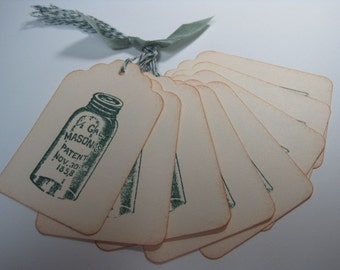 Stamped Gift Tags - Vintage Mason Jar in Green
