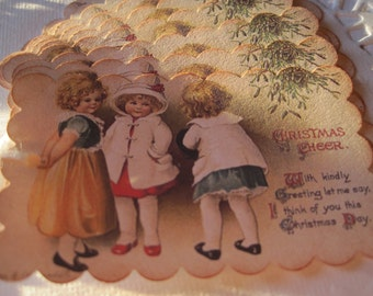 CHRISTMAS IN JULY Christmas Gift Tag - set of 9 - Vintage Collage Little Girls Christmas Cheer
