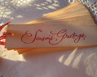 Handmade Vintage Style Christmas Gift Tags - Seasons Greetings - Longer Style