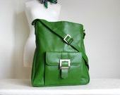 Kelly Green Leather Pocket Messenger Bag SALE