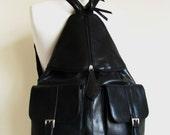 Leather Bag  Backpack in Black