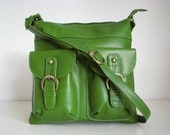 Leather Messenger Bag Shoulderbag Handbag Green