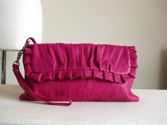 Cerise Pink Frilly Leather Shoulder Clutch Bag SALE