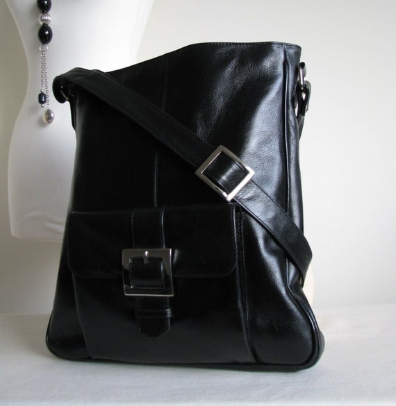 Black Leather Pocket Messenger Bag SALE