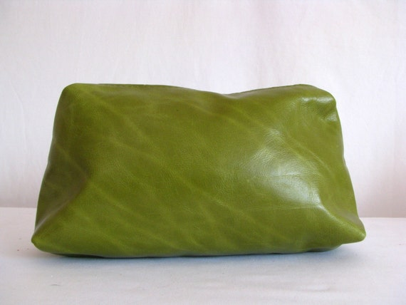 Green Leather Cosmetic Purse