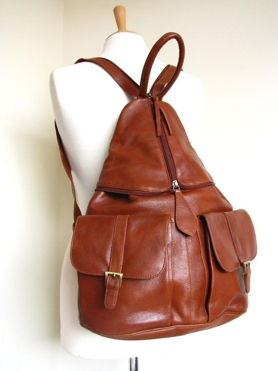 Leather Backpack Handbag in Brown