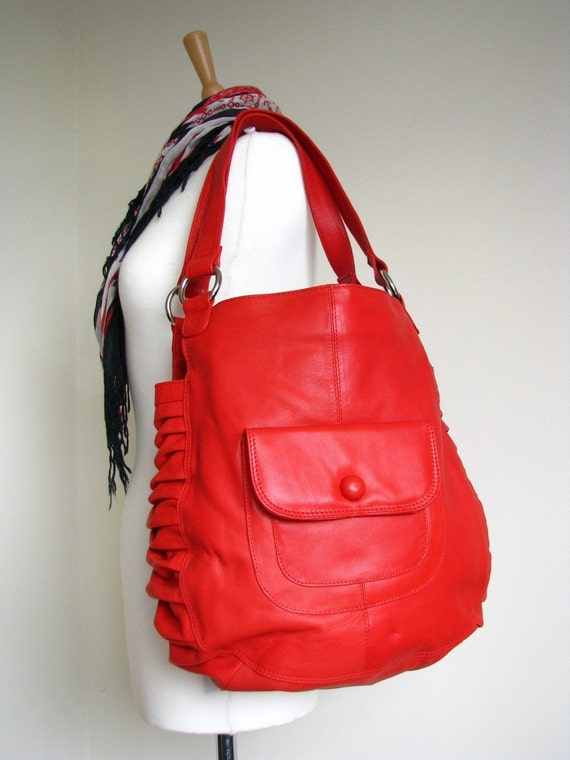 Red Leather Slouchy Pleat Bag