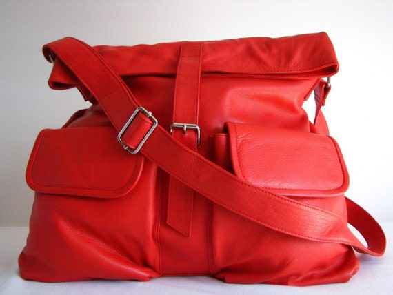 Large Red Slouchy Leather Messenger Bag LAST ONE