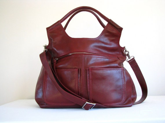 Large Leather Handbag Messenger Travel Laptop Bag red  - 20% off with coupon code