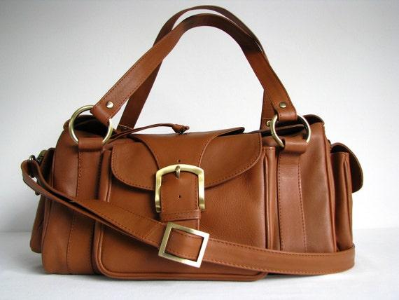 Leather Satchel Messenger Bag in Tan