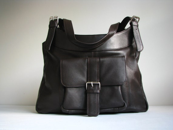 Leather Handbag Bag with Pocket in Brown - 20% off