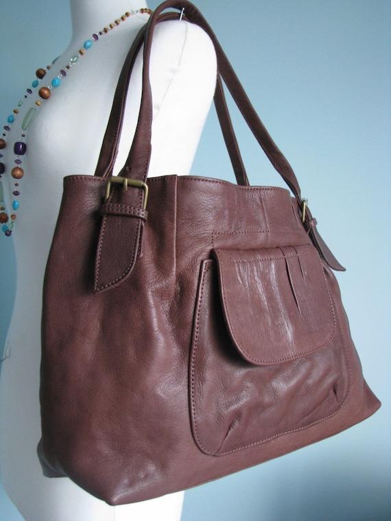 New Large Tan Leather Tote Shopper Shoulder Handbag Bag Purse
