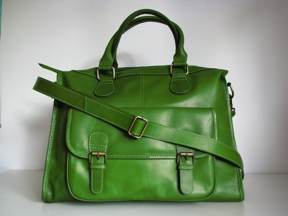 Leather Purse Weekend Travel Bag, Green