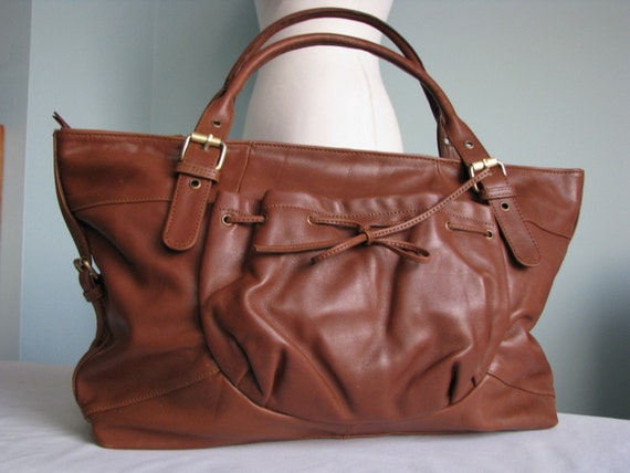 Brown Leather Bow Bag