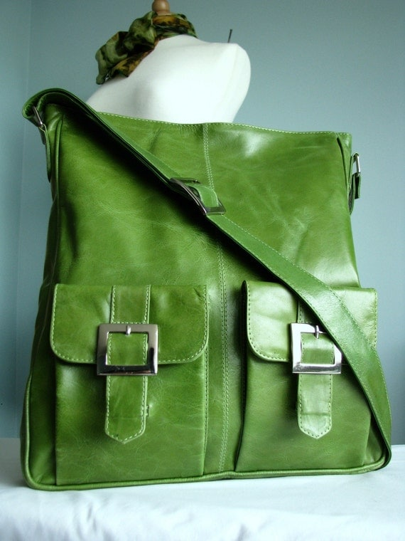 Green Leather Messenger Tote