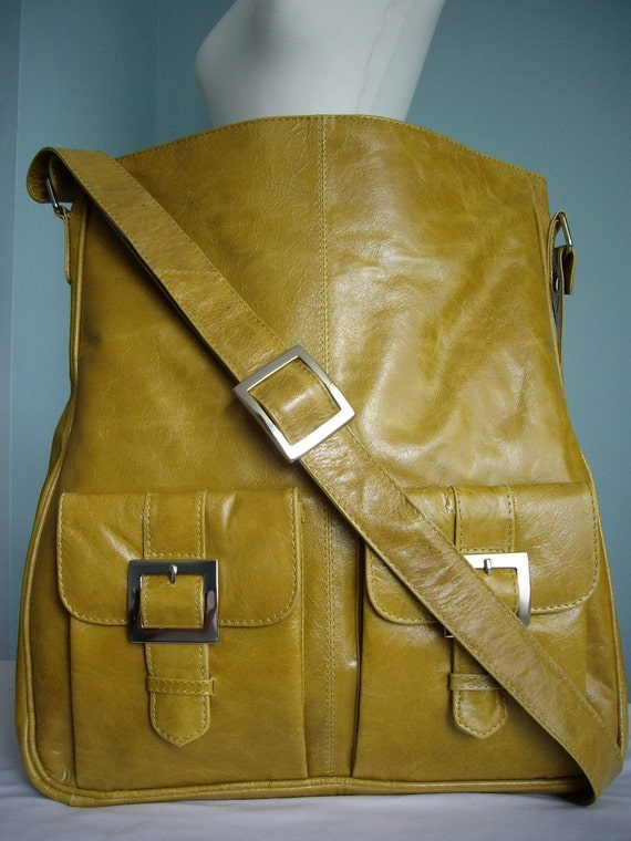 Yellow Leather Pocket Messenger Tote