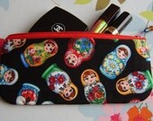 Zipper pouch or pencil case made with RARE matryoshka russian dolls fabric