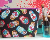 Rare Russian doll fabric cosmetic pouch bag